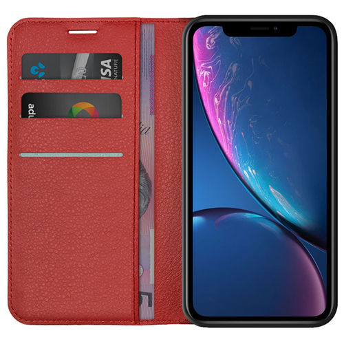 Leather Wallet Case & Card Holder Stand for Apple iPhone Xr - Red
